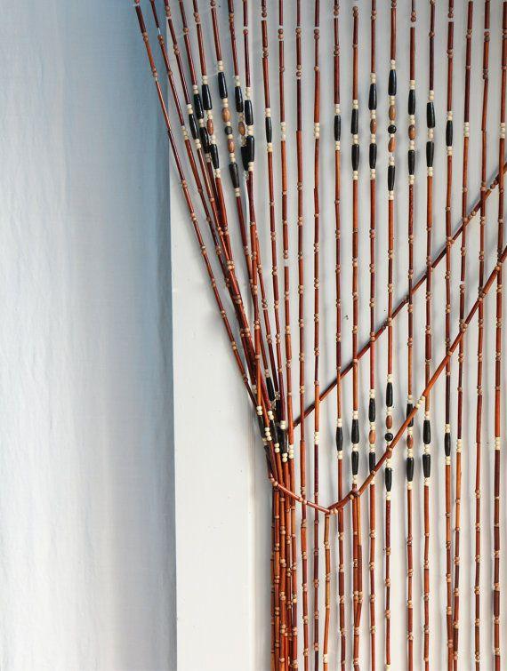 Vintage 1970s Wood Beaded Curtain / Boho Style