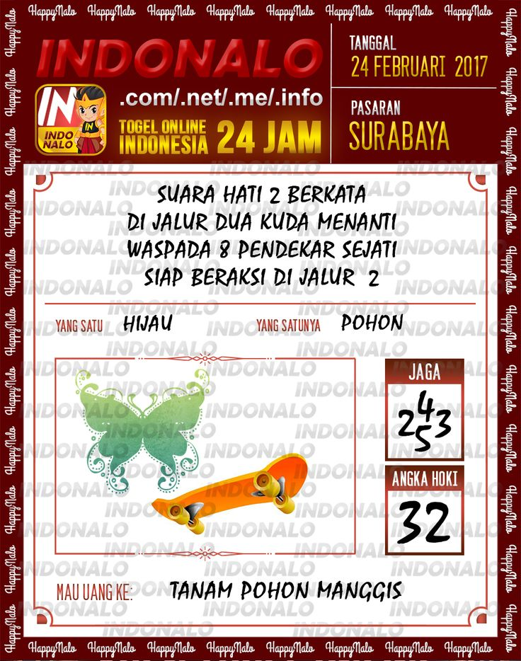 Taysen Pools 4D Togel Wap Online Live Draw 4D Indonalo Surabaya 24 Febuari 2017