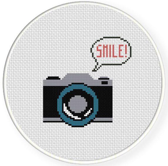 Smile Camera Cross Stitch Pattern