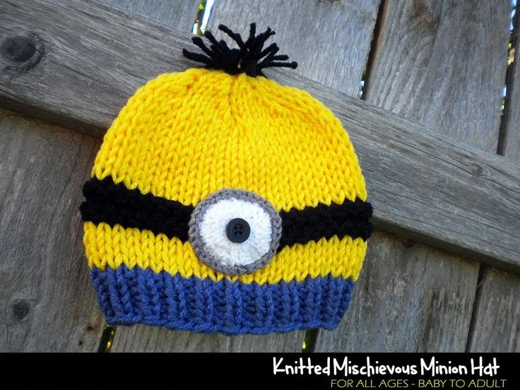 Childs Minion Hat Knitting Pattern : 190 best images about Aunt Janet Knitting & Crochet Designs on Pinterest ...
