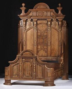 American, circa 1860s, a [Victorian] Renaissance Revival bed and dresser in walnut and walnut veneers,
