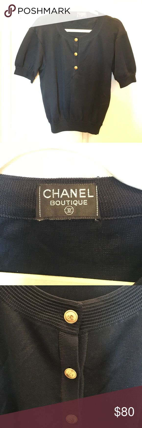 Vintage Chanel Sweater top 80s vintage Chanel sweater top. Great condition, no flaws. Looks new, I have never worn but was handed down to me from a relative. No care label so I cannot tell you the content... it is navy in color. An extra button is attached inside on the side seam.  It is size 38 but if you like looser casual fit it can fit size 2 or 4. If for tighter fit it is more like size 6 or 8. CHANEL Sweaters Crew & Scoop Necks