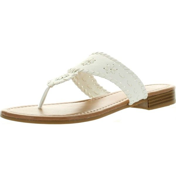 Pierre Dumas Womens Rosetta 1 Fashion Flip Flop Sandals White 9 ($30) ❤ liked on Polyvore featuring shoes, sandals, flip flops, wedge sandals, white flip flops, white shoes, white flat shoes and wedge flip flops