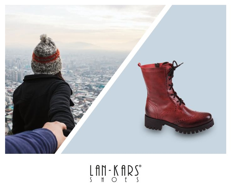 Skórzane buty na grubej podeszwie - ideał na zimowe dni.  #lankars #shoes #leather #boots #red #woman #winter #trip #outside #cold #heavy #city #couple #walk