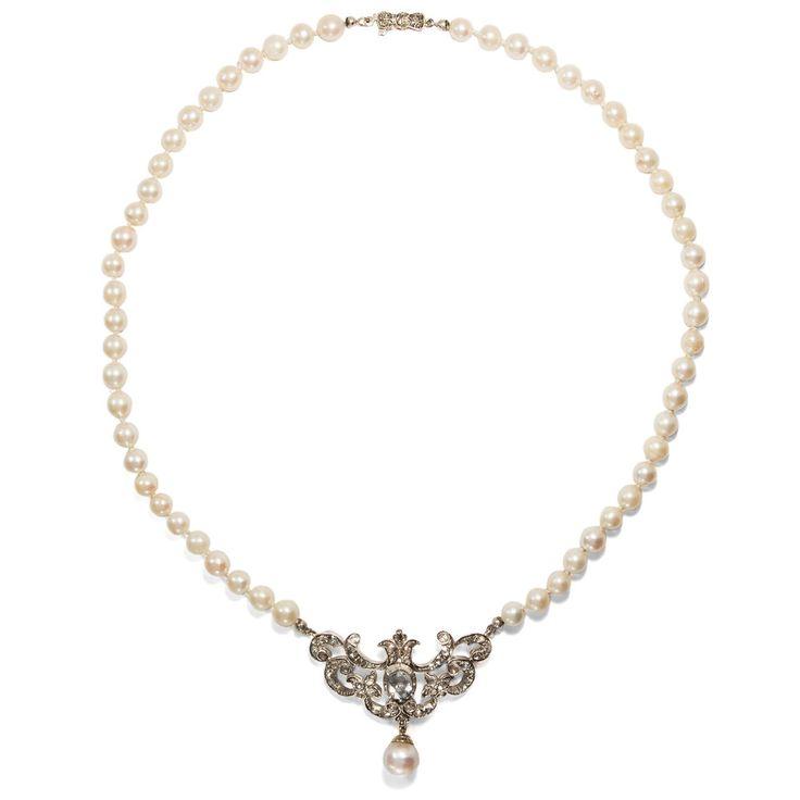Antikes Diamant Rosen Collier mit Perlen, um 1865 / Gold Silber Anhänger Kette