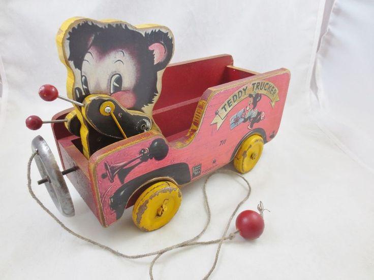 Vintage Fisher Price Wooden Children's Pull Toy USA TEDDY BEAR TRUCKER # 711 #FisherPrice