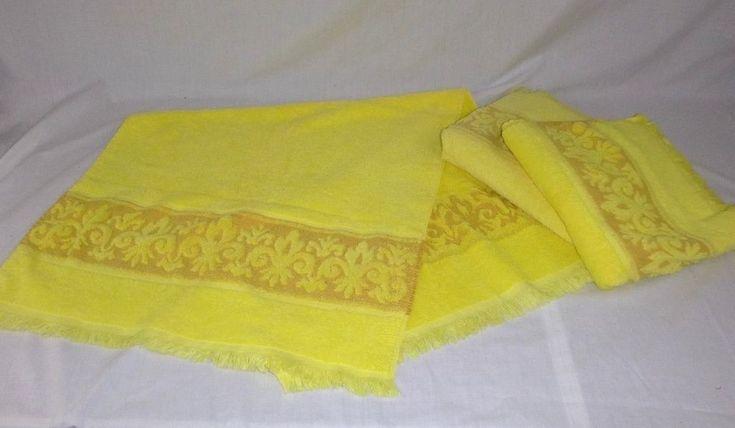 3 Vtg Sears PLUSH Sculpted Border Yellow Bath Towels