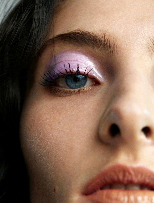 Annie Tice photographed by Paul Scala for ES Magazine Hair: David Wadlow Makeup: Mel Arter / purple eyeshadow