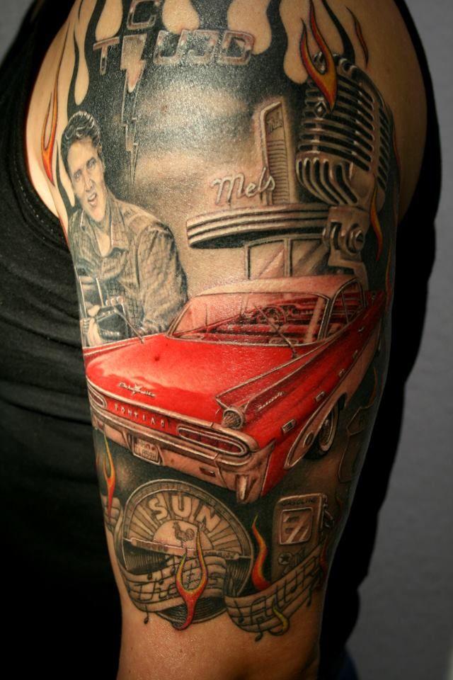 elvis rockabilly tattoo love elvis tattoos pinterest bel air cars and dads. Black Bedroom Furniture Sets. Home Design Ideas