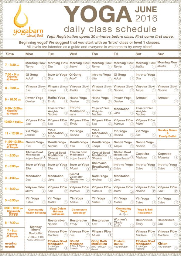 The Yoga Barn Monthly Schedule