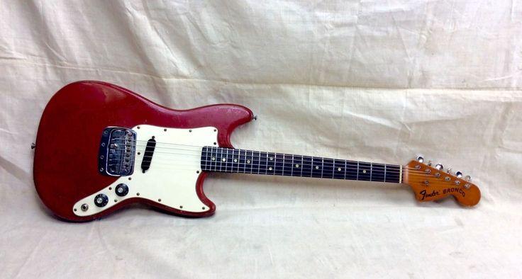 Vintage 1970s Fender Bronco Electric Guitar Circa 1973 Mustang-Musicmaster Red