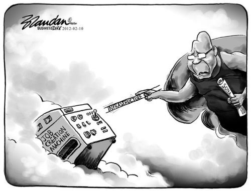 Inspired by Michaelangelo, this cartoon by BRANDAN [for Business Day] calls on the President to bring on some Job Creation!