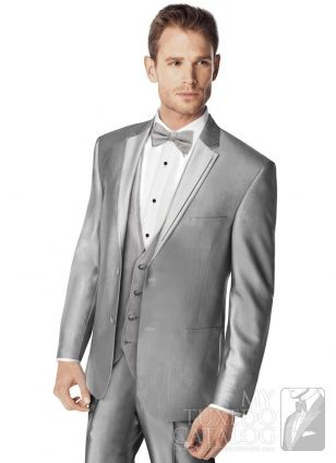 the Silver 'Swagger' Tuxedo is a beautiful lustrous (shiny) silver fabric that is sure to help you stand out in a crowd, and it's available for rental!