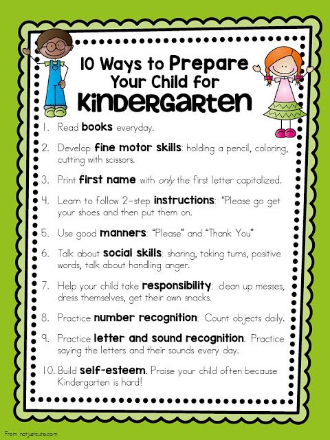 A free printable to give to parents that shares 10 Ways to Prepare Your Child for Kindergarten We end up doing a lot of this in K, but it's helpful for parents to know what's coming up.