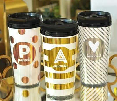 Personalized Metallic Foil Travel Coffee Mug (9 Color/Pattern Combos) | Personalized Gifts and Party Favors