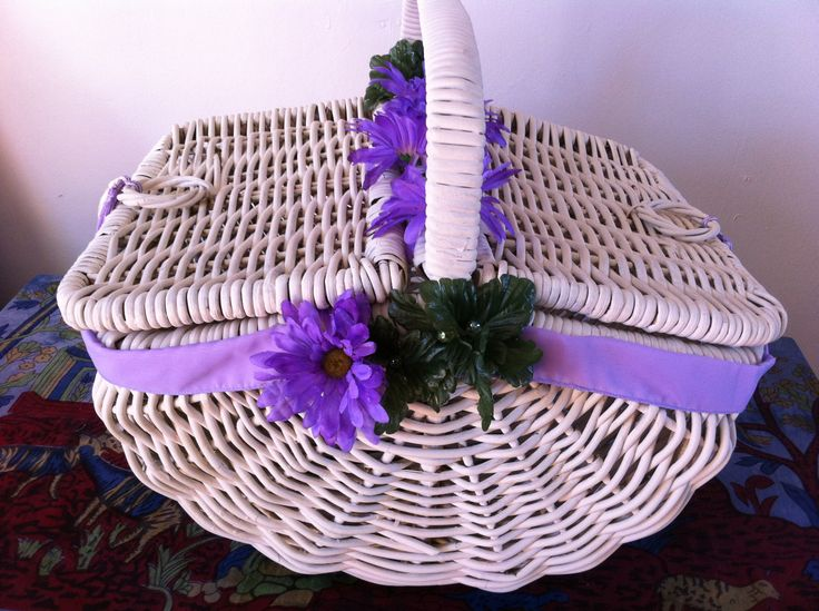 large cane basket painted and decorated by me