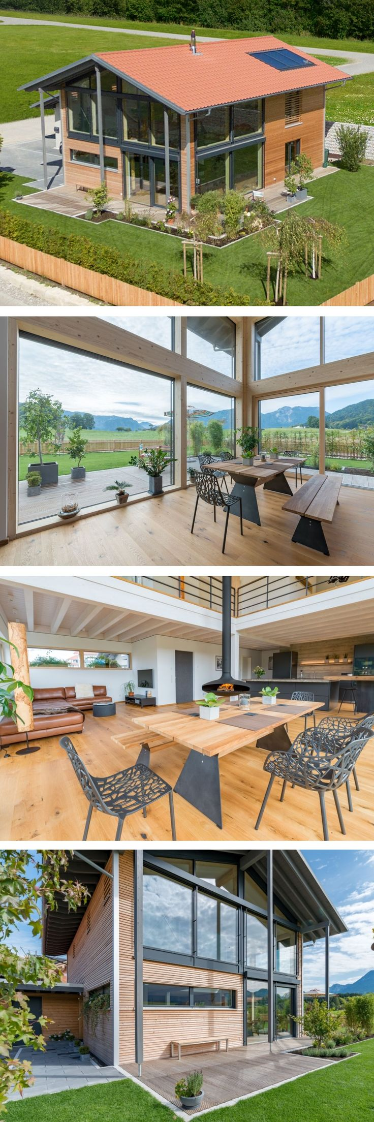 Einfamilienhaus Architektur modern im Landhausstil mit Holzfassade, Satteldach …