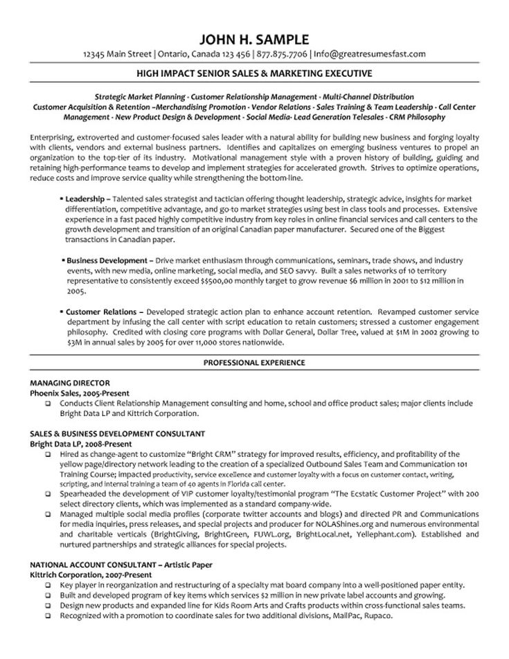 8 best Best IT Director Resume Templates \ Samples images on - strategic account manager resume