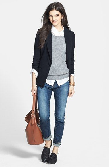 James Perse Jacket, Hinge® Pullover & AG Jeans 'The Stilt' Cigarette Leg Jeans available at #Nordstrom