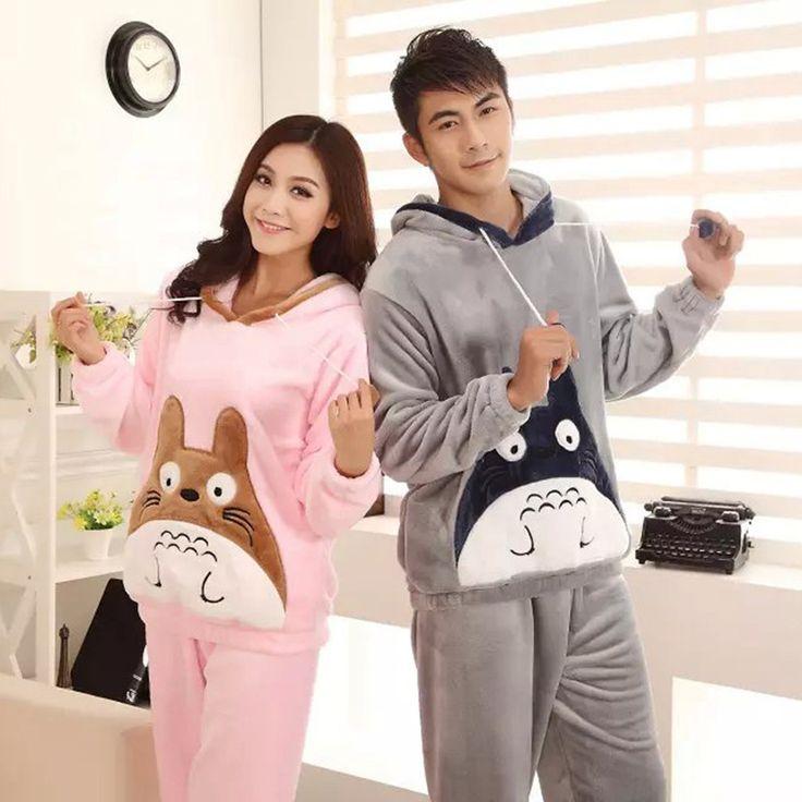 2017 Winter Totoro Couple Pajama Sets Animal Warm Sleepwear For Women/Men Coral fleece cartoon cosplay costume 121503