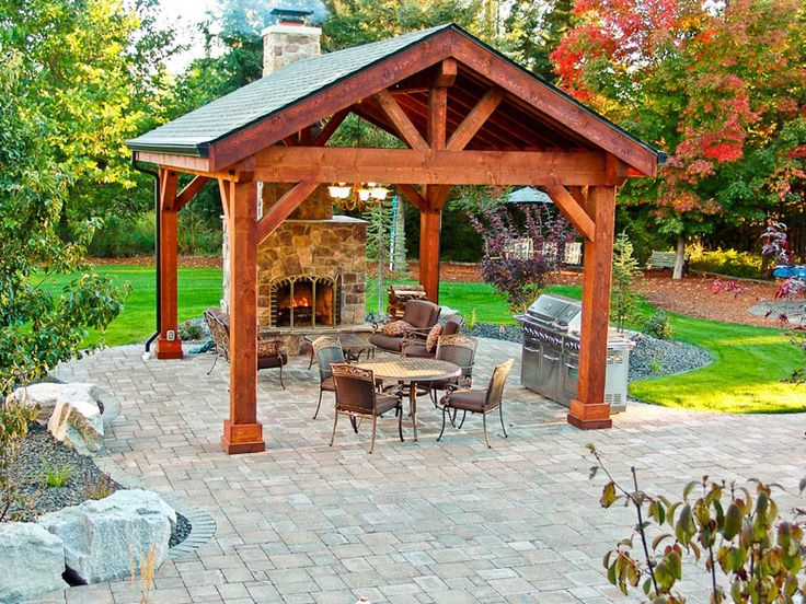 Outdoor pavilions with fireplaces google search for Outdoor gazebo plans with fireplace