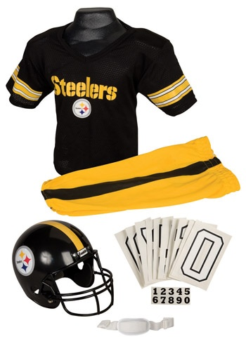 Our Kids NFL uniforms come with pants, a jersey, a helmet and chinstrap, and iron on numbers. They're always hot holiday sellers, and we just got in a bunch of new NFL teams. The best part? Each set is only $39!