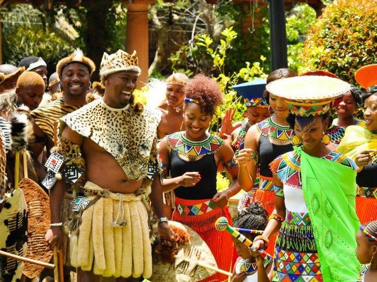 World traditional Attires | The groom and bride wearing (green)traditional zulu attire