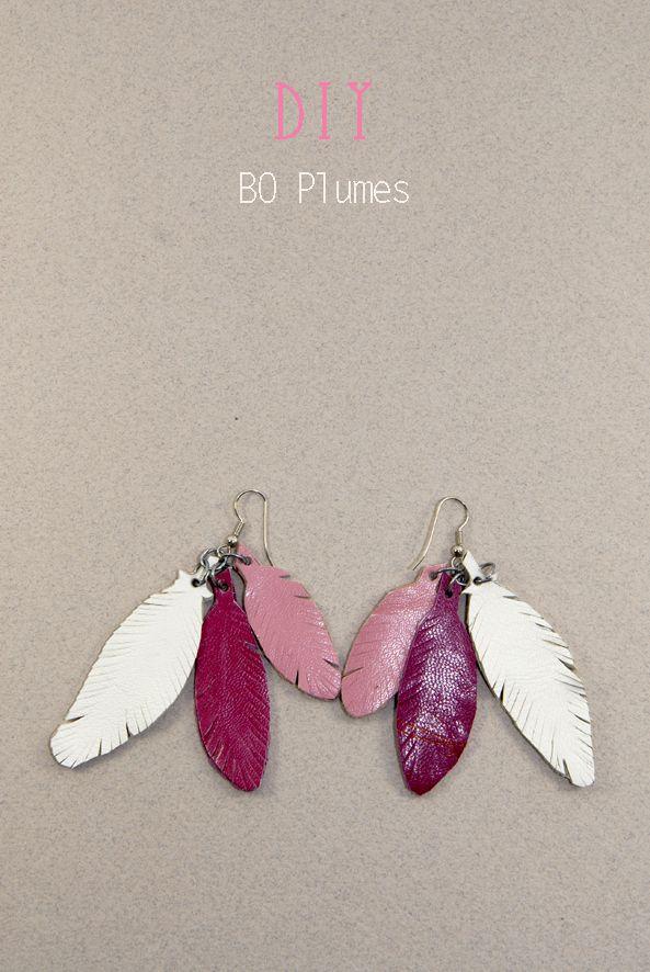 DIY boucles d'oreilles plumes