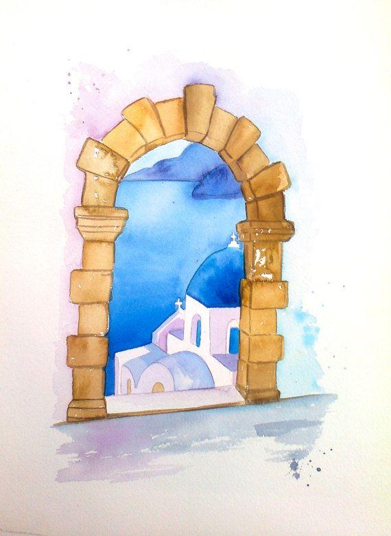 Santorini Greek Art GREEK PAINTING original by CHRISSASHANDMADE