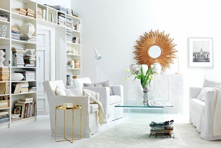 White Trends in the InteriorCabinets Bookshelf, 79 Ideas, Swedish Interiors, Livingroom, Sunburst Mirrors, Interiors Design, Living Room, Beautiful Hemmings, White Interiors