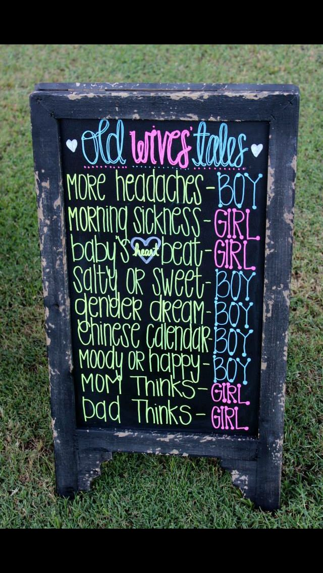 Old Wives' Tales gender reveal chalkboard