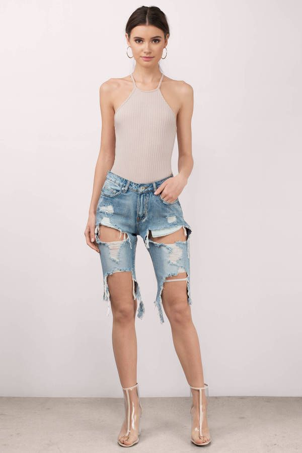Suns out, shorts out.  Put on the You Already Know Distressed Denim Bermuda Shorts.  Featuring distressed bermudas.  Pair with sandals and your favori