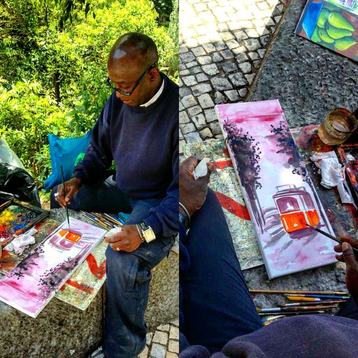 All year round the historic town of #Sintra attracts visitors from around the world. Street artist paints a local iconic tram from Sintra to #praiadasmaçãs. #artists #trams #paintings #portugal #visitportugal #portugalholidayvillas #romanticcity