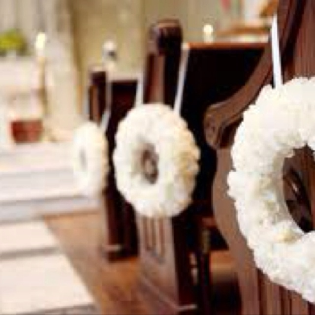 The 276 best wedding pew decor images on pinterest church how to hang decorations on a church pew junglespirit Images