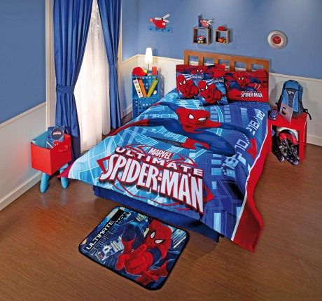 New boys kids marvel blue red spider man attack comforter bedding she - Spiderman decorating ideas bedroom ...