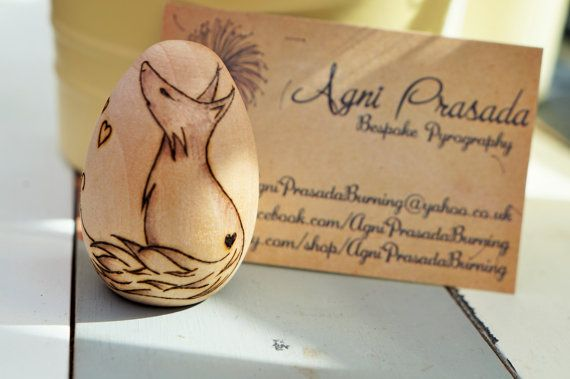 Pyrography on solid birch egg  personalised by AgniPrasadaBurning