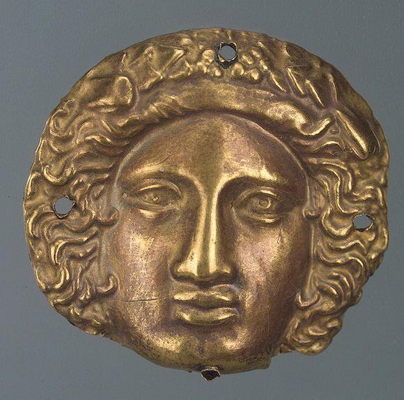 Gold stamped Face Diam. 3.6 cm Scythian culture 4th century BCE Chertomlyk Barrow, Dnieper Area Ukaine