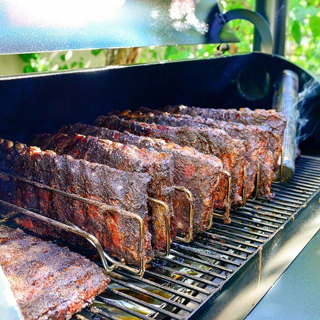 Thick and deliciously smoked Traeger BBQ ribs. You won't find any shiners on these racks.