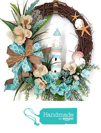 Lighthouse Coastal Wreath, Seashell Wreath, Summer Wreath, Lighthouse Wreath, Grapevine Beach Wreath from Tinas Deco Mesh Wreaths http://www.amazon.com/dp/B01E392GTG/ref=hnd_sw_r_pi_dp_YWVixb0C2T1TN #handmadeatamazon