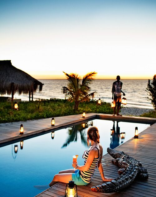 Southern Africas Beaches and Safari Camps | Each of Azura Benguerra's sixteen villas has its own pool and comes with a butler. Don't worry—the croc is not real.