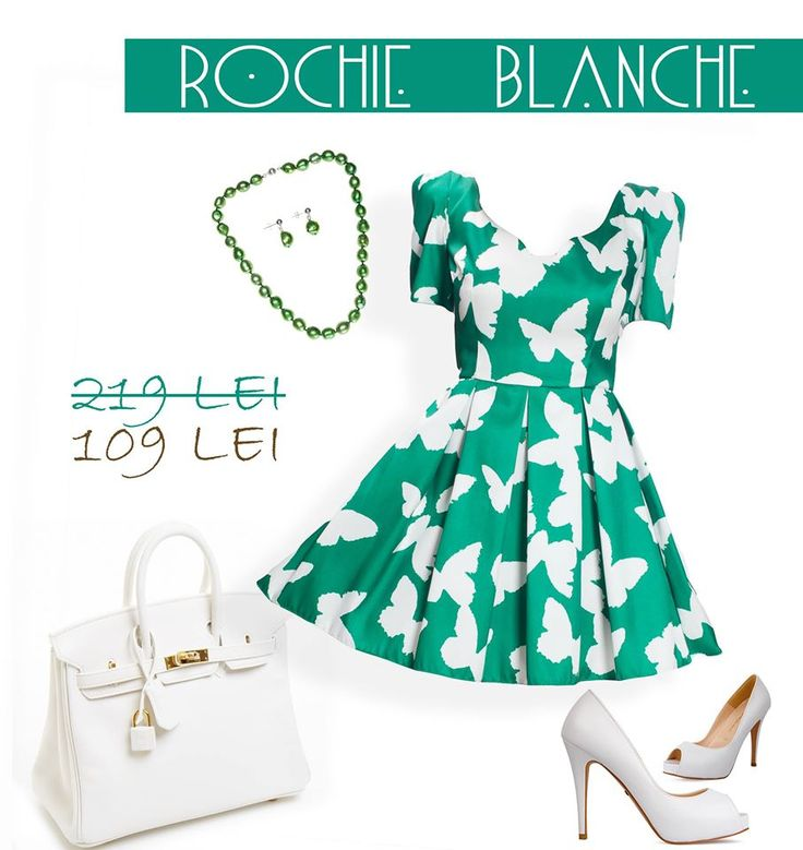 Summer SALE! 50% off for this lovely short dress with white butterflies: http://bit.ly/rochie-blanche-verde