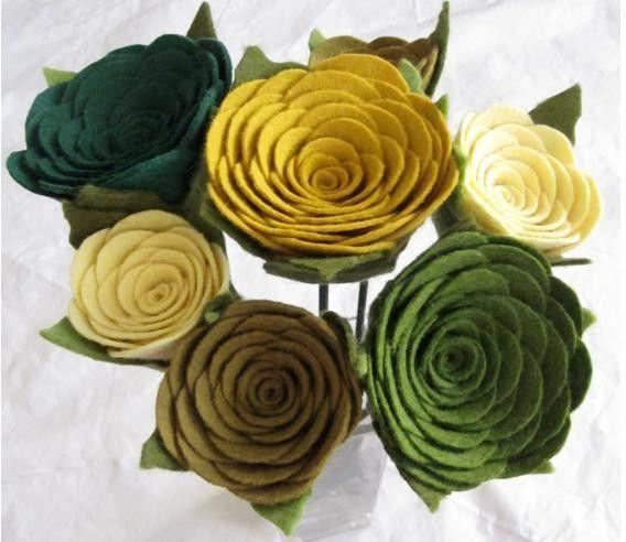 Felt flowers, green