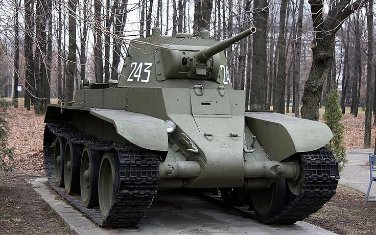 The BT-7  was the last of the BT series of Soviet cavalry tanks that were produced in large numbers between 1935 and 1940. They were lightly armoured, but reasonably well-armed for their time, and had much better mobility than other contemporary tank designs.  The successor of the BT-7 Tank would be the famous T-34 medium tank, introduced in 1940, which would replace all of the Soviet fast tanks, infantry tanks, and medium tanks then in service
