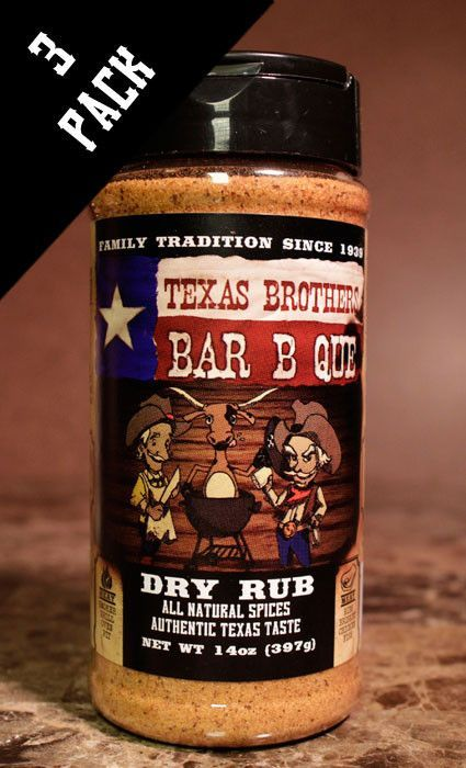 3 Pack - 14 oz Barbecue Dry Rub Spice Bottle