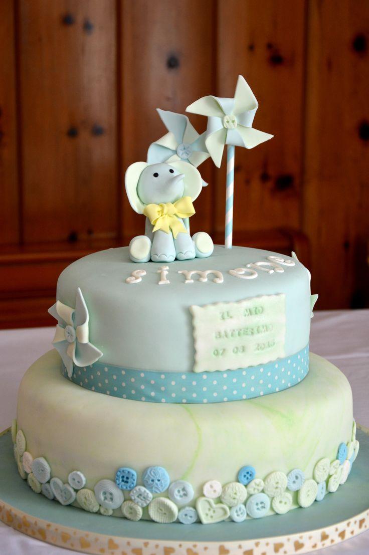 Baby boy cake - battesimo