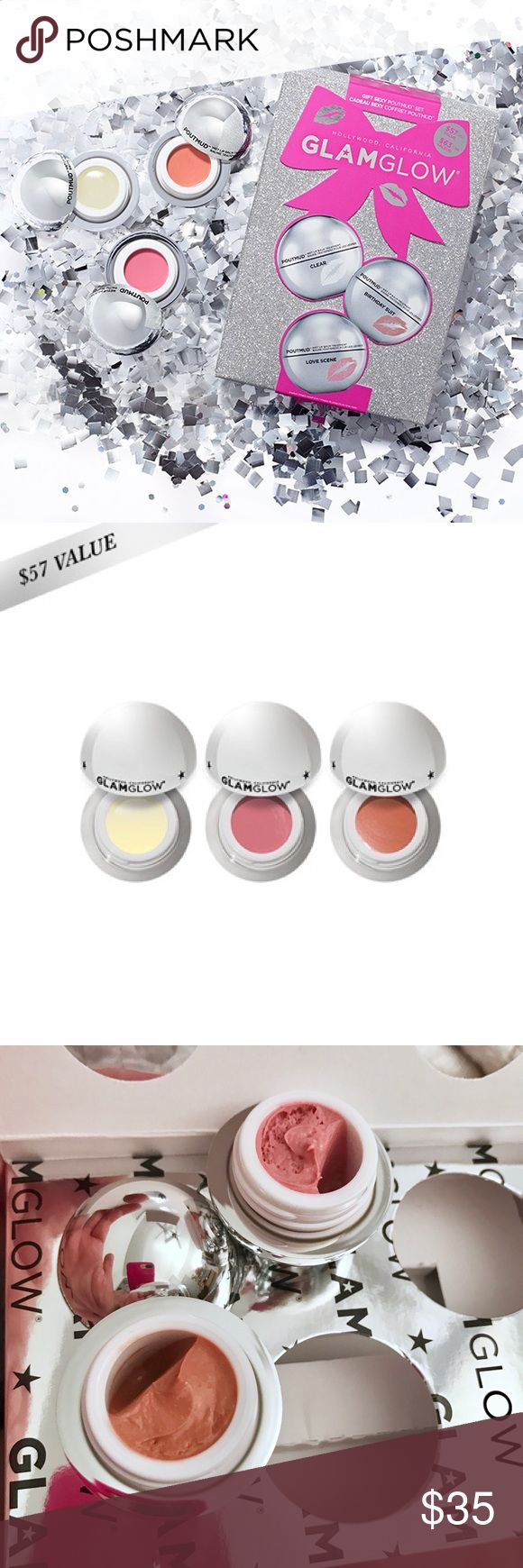 GLAMGLOW PoutMud Wet Lip Balm Treatment Nordstrom GIFT SEXY POUTMUD™ WET LIP BALM TREATMENT is a moisture-rich lip balm treatment designed to create Instantly Softer, Hydrated, & Restored Lips.  ★ POUTMUD™ WET LIP BALM TREATMENT in CLEAR 7g ★ POUTMUD™ WET LIP BALM TREATMENT in BIRTHDAY SUIT 7g ★ POUTMUD™ WET LIP BALM TREATMENT in LOVE SCENE 7g  Never used!! Clear balm has a protective cover, tinted balms are of whipped consistency and have settled as they were stored on their side. Purchased…