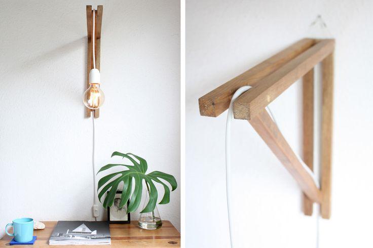 luminária em madeira, cabo pp branco e lâmpada de  filamento de carbono!