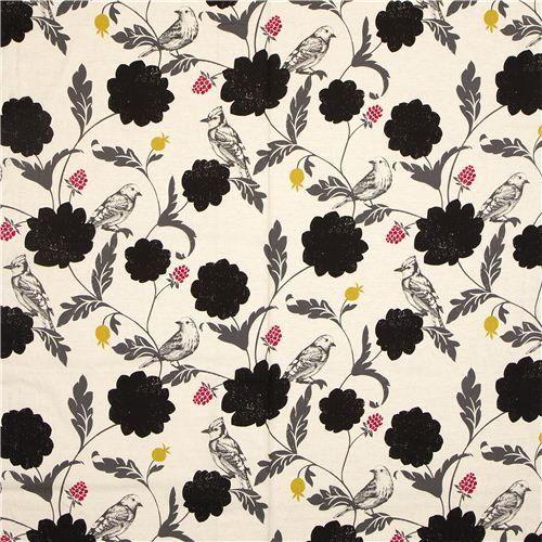Tissu Echino enduit laminé écru Dahlia, oiseaux & fleurs: Amazon.fr: Cuisine & Maison