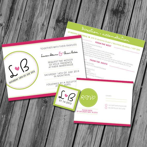 Printable Wedding Invitations  Pink and green by PrintableJoanie, $20.00