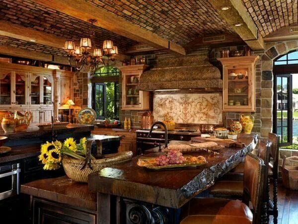 Beautiful #rustic #kitchen #logs